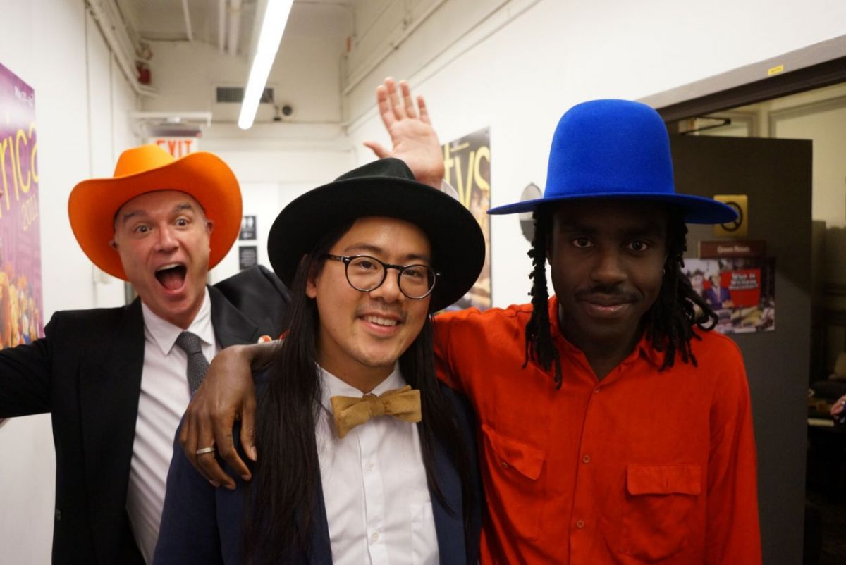 Me, photobombing Jonny Lam and Devonté Hynes.