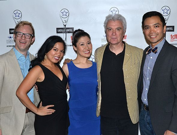 Lighting designer Justin Townsend, cast members Melody Butiu and Ruthie Ann Miles, author David Byrne, and cast member Jose Llana.