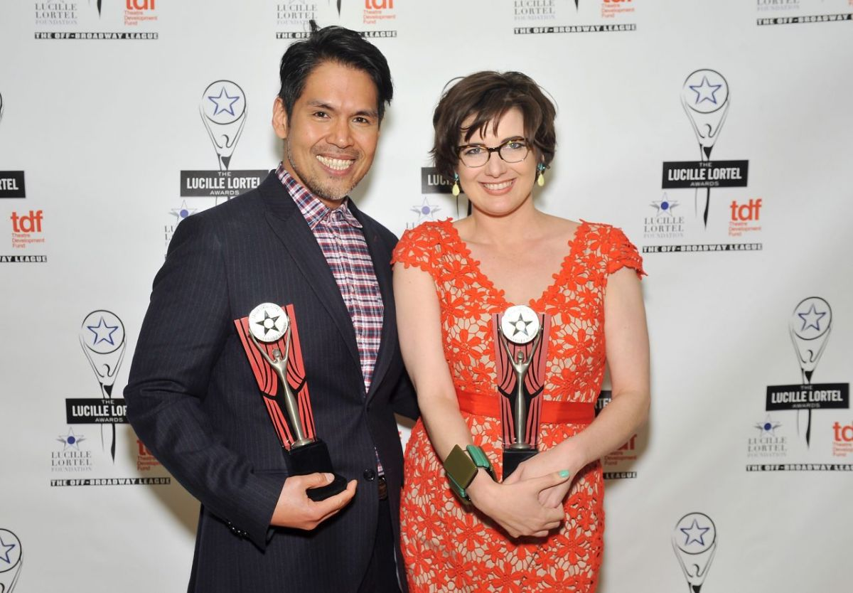 Clint Ramos, left, won for Outstanding Costume Design along with Paloma Young (Natasha, Pierre and the Great Comet of 1812), right.