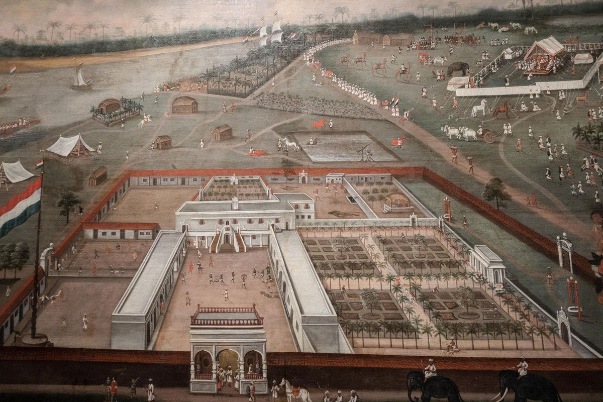 The Trading Post of the Dutch East India Company in Hooghly, Bengal, Hendrik van Schuylenburgh, 1665.