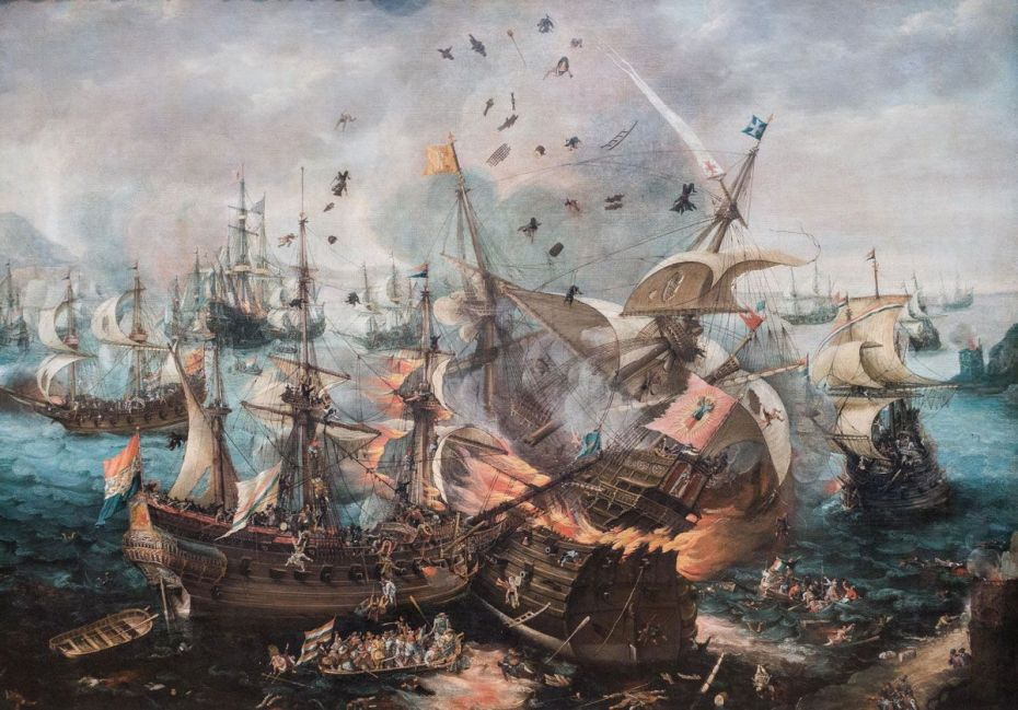 The Explosion of the Spanish Flagship during the Battle of Gibraltar, Cornelis Claesz. van Wieringen, c. 1621.