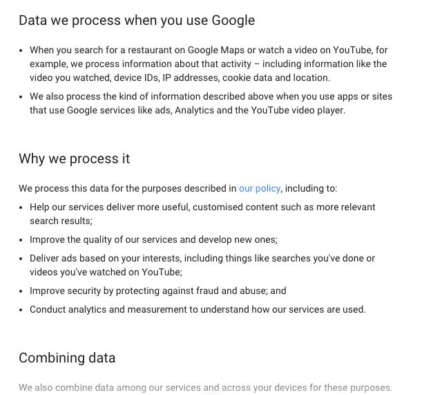Google explains how and why they're watching us.