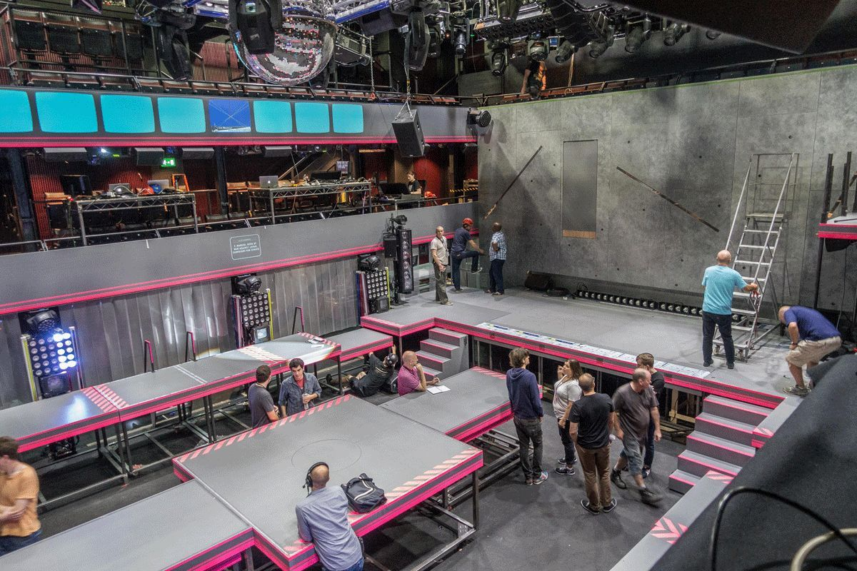 Ready for move-in on the London set for 'Here Lies Love' at the National Theatre.