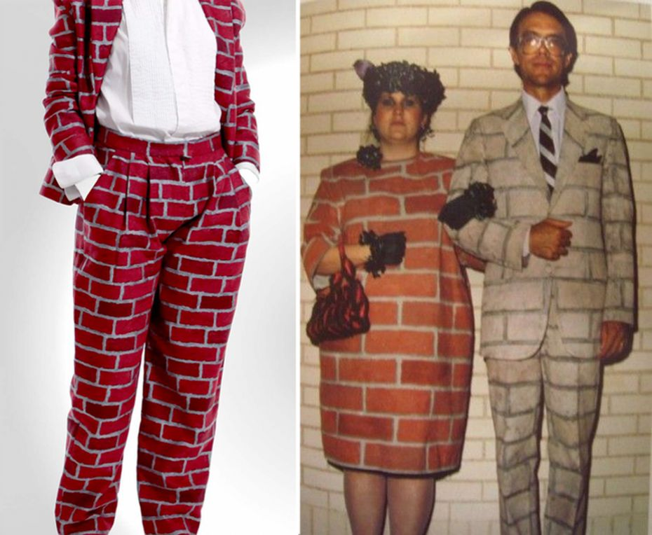Anthea Hamilton's 'Brick Suit' (2010, Jacquard woven wool) on the left and to the right Adelle Lutz's 'Urban Camouflage' costumes for True Stories. (1986)