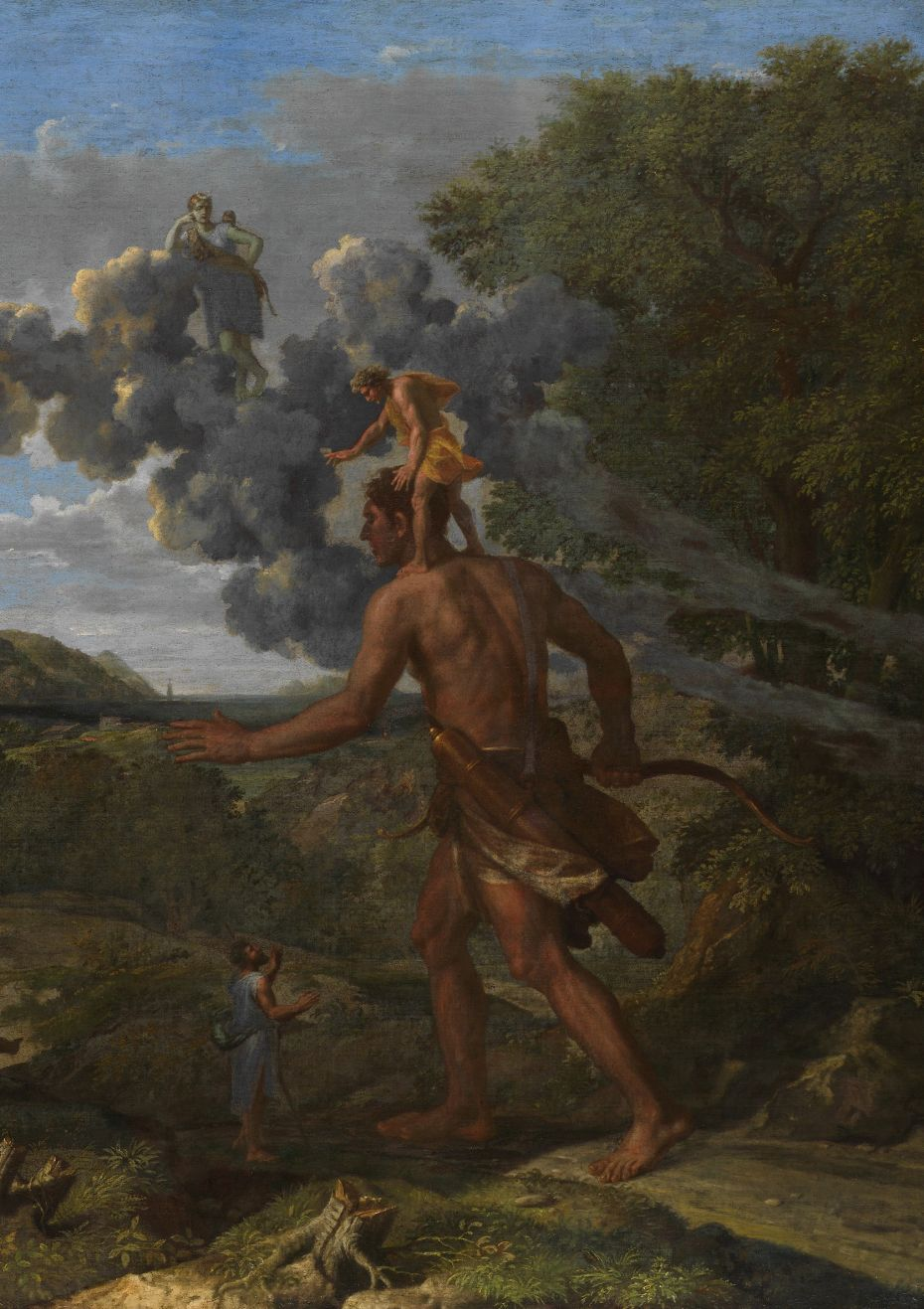 Detail picturing Cedalion standing on the shoulders of Orion from Nicolas Poussin's painting 'Blind Orion Searching for the Rising Sun.' (1658, Oil on canvas, 46 ⅞ x 72 in.)