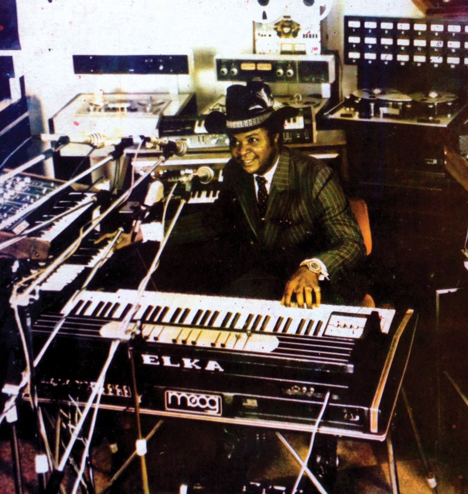 William Onyeabor with his synthesizers.